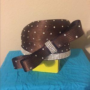 NWT dark brown rhinestone hat w/ front bow design